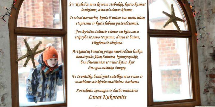 Socialinės apsaugos ir darbo ministro Lino Kukuraičio sveikinimas